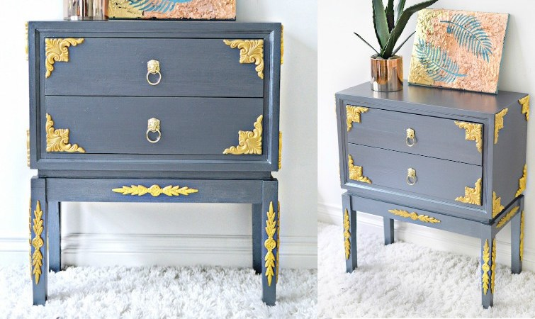 Wood Applique Table Makeover