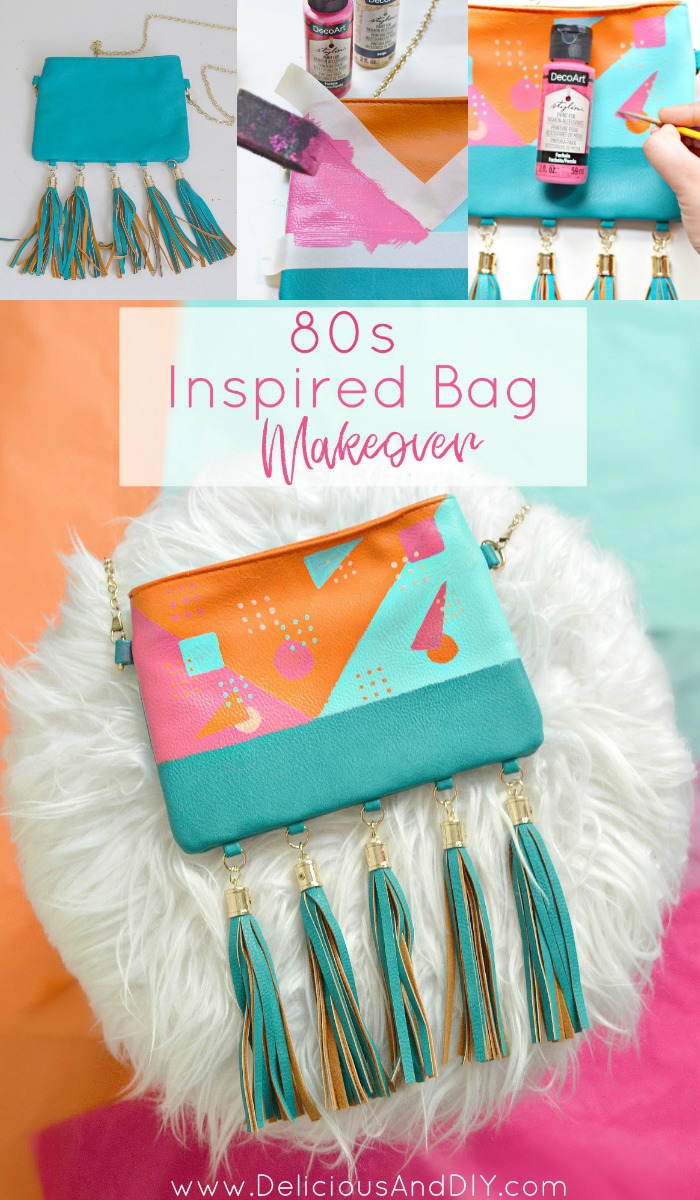 Learb how to create this beautiful 80s Inspired pattern on a plain bag to instantly transform it into this beautiful Mod Bag| Fabric Painted Bag| DIY Accessories Project| DIY Craft Projects| 80s Mod Patten| 80s Inspired Design