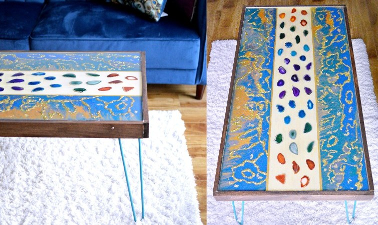 DIY Marbled Resin Wood Coffee Table