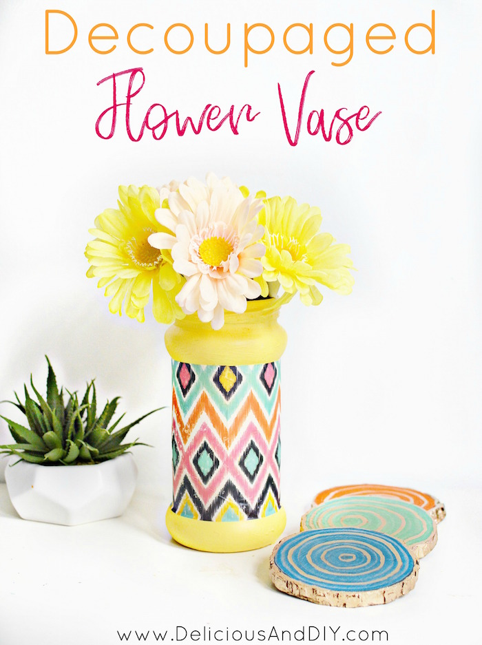 Recycle those empty bottles by using a bright paint color, paper and some decoupage glue. These are a perfect way to brighten up any home decor space| Upcycled bottles| DIY Crafts| Home Decor| Decoupaged Flower Vase| Ikat Vase