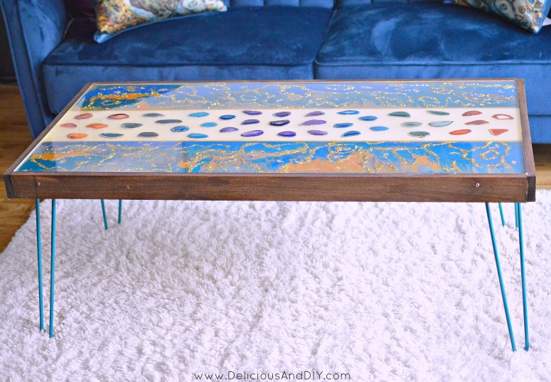 diy marbled resin wood coffee table with teal hairpin legs