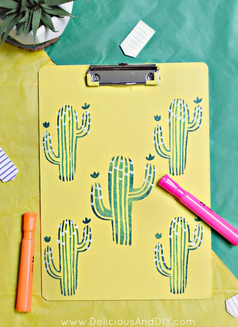 Update a plain Clipboard using some stencils and paint to create gorgeous Back to School Supplies or even Office Supplies| Back To School Stationery| Cactus Clipboard| Stenciled Cactus Clipboard| DIY Crafts| DIY Stationery