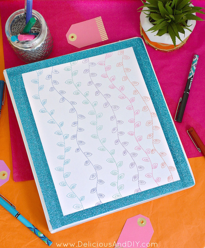 Customize your Back To School Supplies by using a few simple items such as the Pilot Pen Precise Pens and create this Hand drawn Binder Makeover| School Supplies Makeover| DIY Craft Projects| Back to School Craft Ideas| Hand drawn Vines| #PowerToThePen #MyGo2Pen #ad