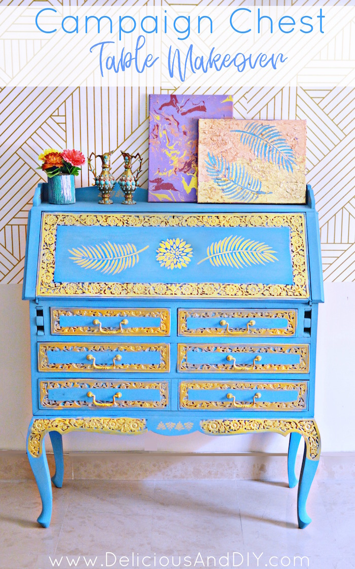Transform an old campaign chest table into a gorgeous victorian style table using paints and stencils| Repurpose old furniture just by using paints and stencils into a gorgeous updated piece| Thrifty furniture makeover ideas using just paint and stencils| Repurposed Furniture| Victorian Style Furniture| Before and After painted furniture