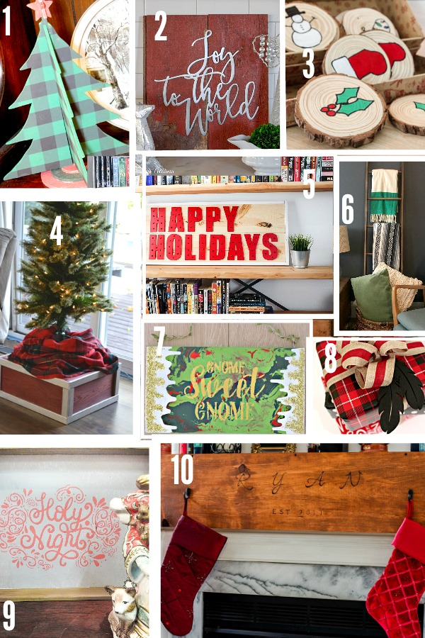 10 Gorgeous Ideas for Christmas using Wood from Signs to ornaments to a serving tray| Learn how to make these beautiful Christmas projects all made out of wood| 10 Christmas Projects made from Wood