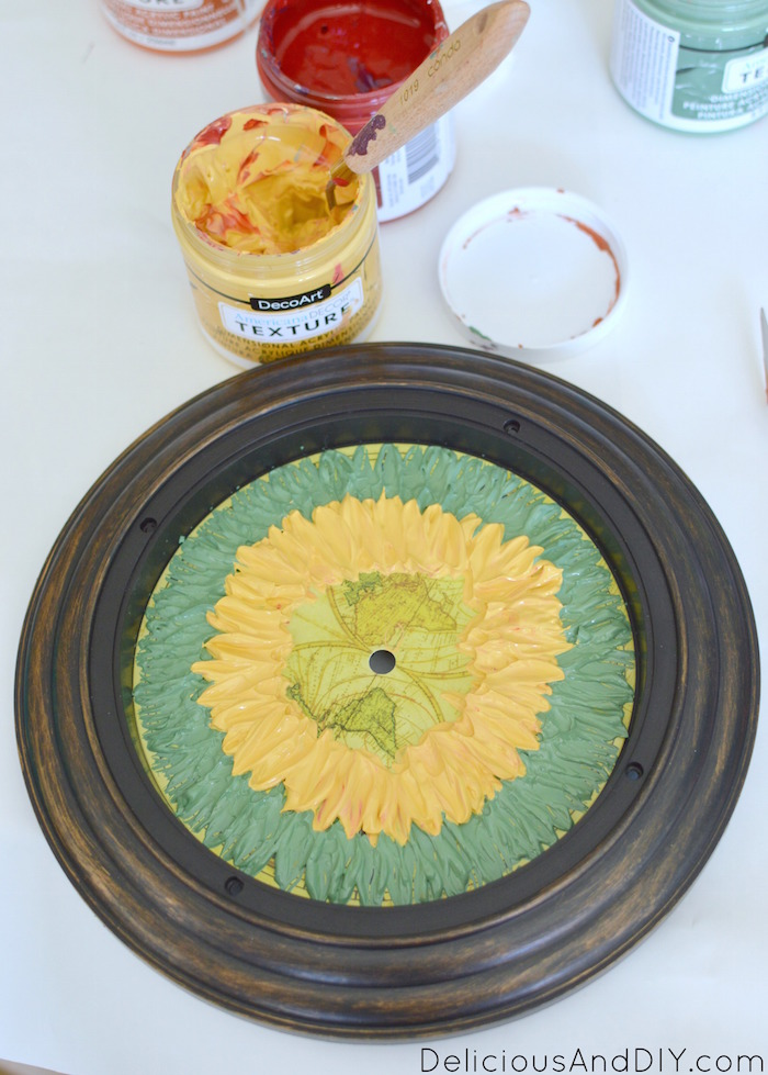 Upgrade a thrift store Clock using Textured paints and turn it into a gorgeous Flower Clock| DIY Painted Flower Clocks| Painted Wall Clock| Thrift Store Clocks upgrade| Home Decor Ideas
