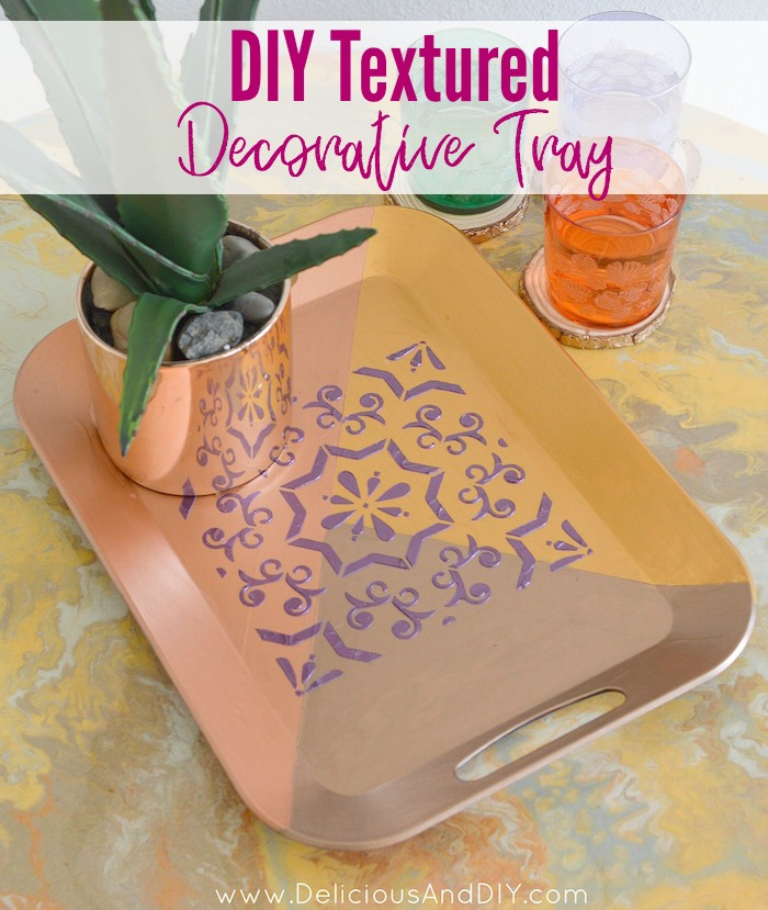 Update a plain Tray into a gorgeous Textured Serving Tray just by using a few simple supplies| Geometric Serving Tray| DIY Painted Serving Tray using Masking Tape, Paint and Stencil