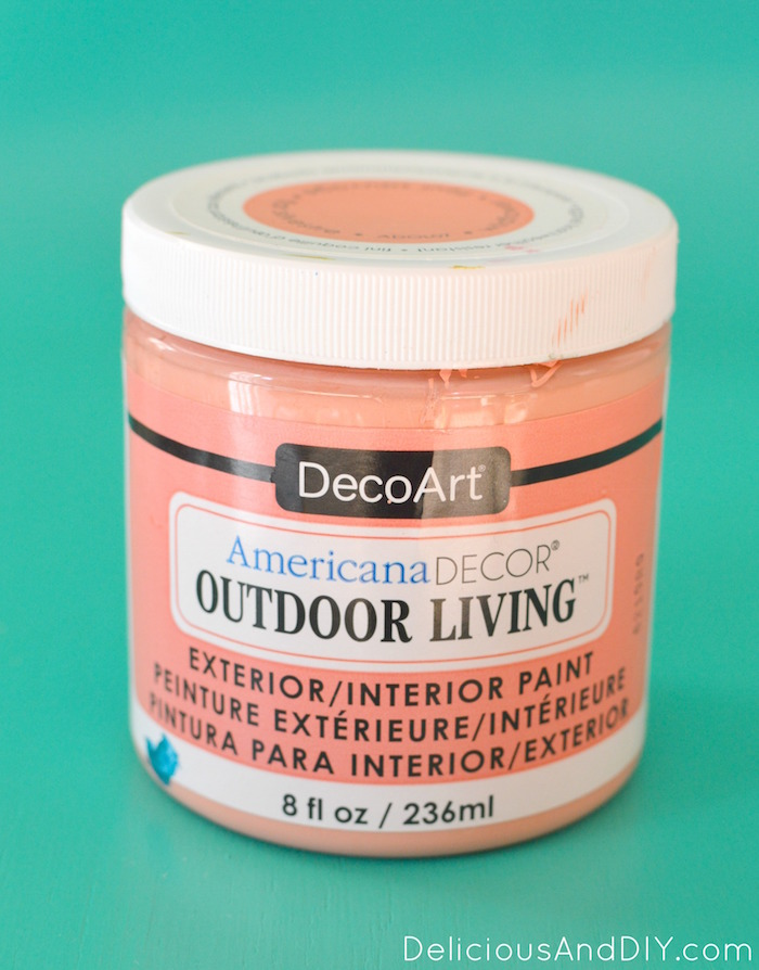 Coral paint color to be used on the DIY Textured Dollar Store Pots
