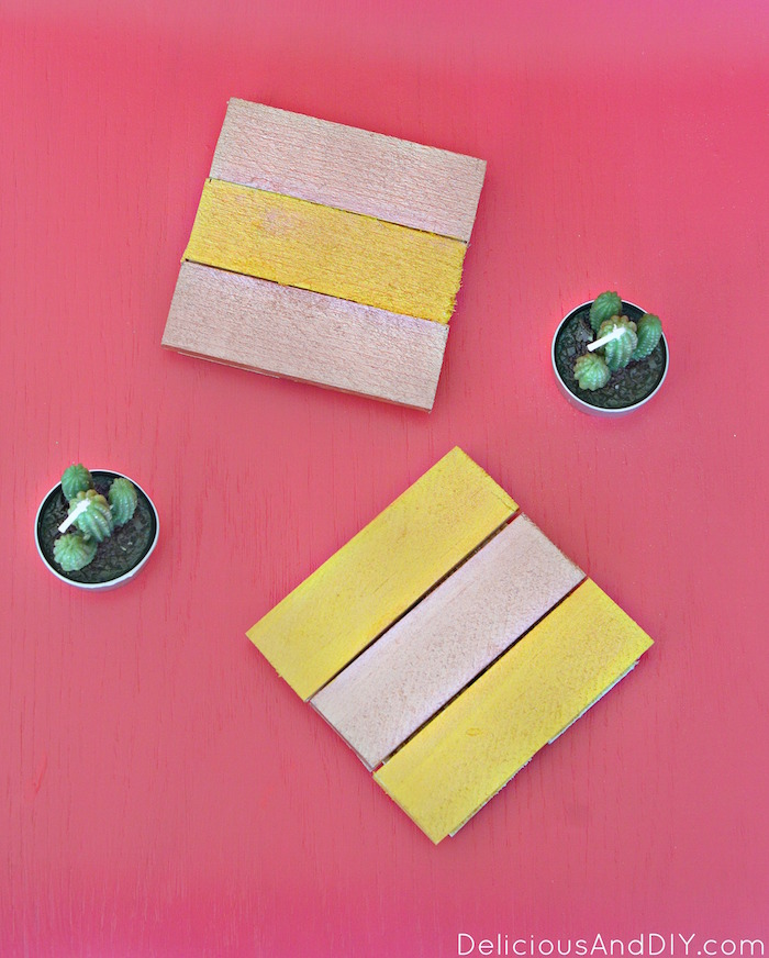 Create these fun Copper and Gold colored Wood Coasters which are perfect to give as gifts| Create gorgeous coasters using leftover wood| DIY Wood Coasters from Scrap Wood| Copper and Gold DIY Wood Coasters|