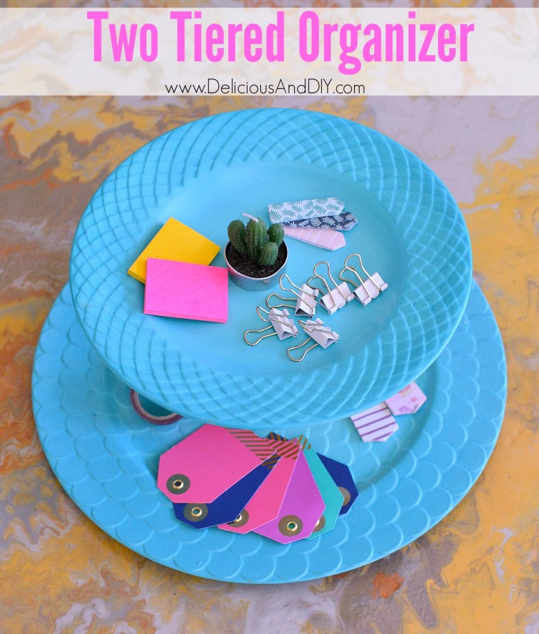 Create a beautiful Two Tiered Organizer just by using Thrifted Plates| Two Tiered Organization| DIY Two Tiered Painted Organizer| Organize your stationary by making a Two Tiered Organizer