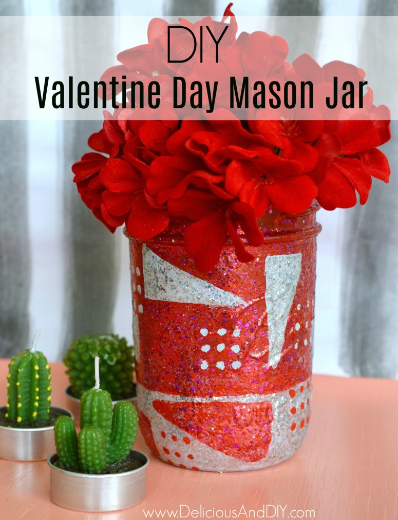 Create a gorgeous 80s Inspired design on a Mason Jar for Valentines Day| 80s Inspired Pattern| Valentines Day Gift Ideas| DIY Home Decor Crafts| Mason Jar Ideas| Valentine Day Vase