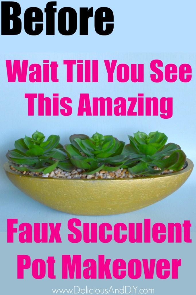 faux succulent vase