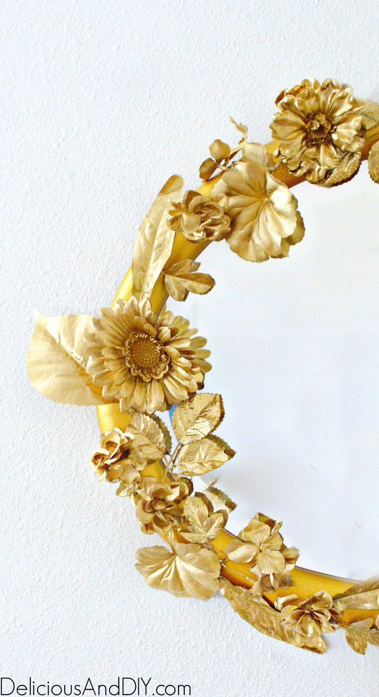 Anthropologie Mirror being made using Artificial Flowers and Leaves