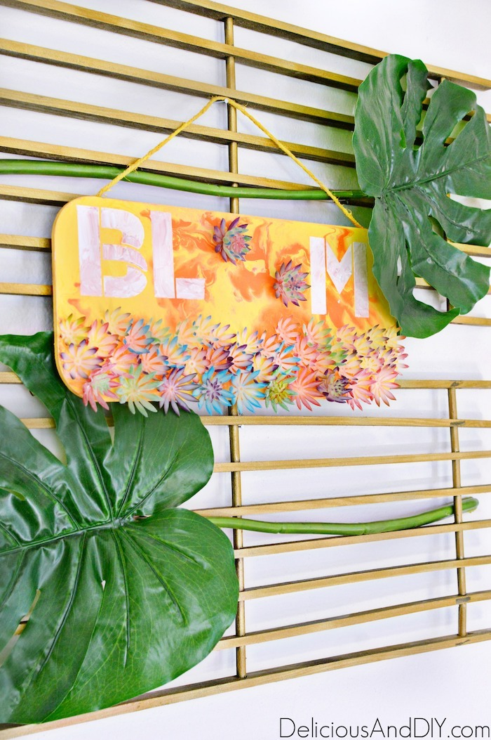 Create a gorgeous Wall Art for Spring by using the Marbling Paint Technique and Faux Succulents| Spring Wall Art| Bloom Wall Art| Home Decor Wall Art Ideas| DIY Marbled Painted Wall Art