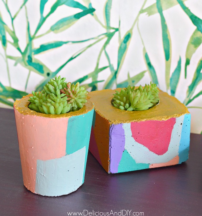 Diy Cement Planters: DIY Abstract Cement Planters