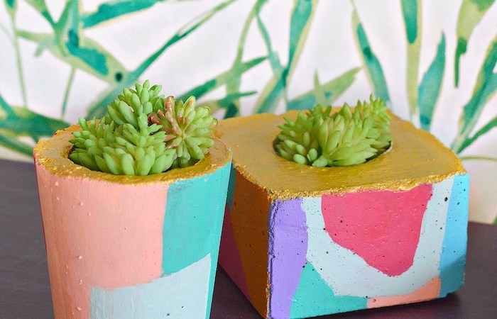 DIY Abstract Cement Planters