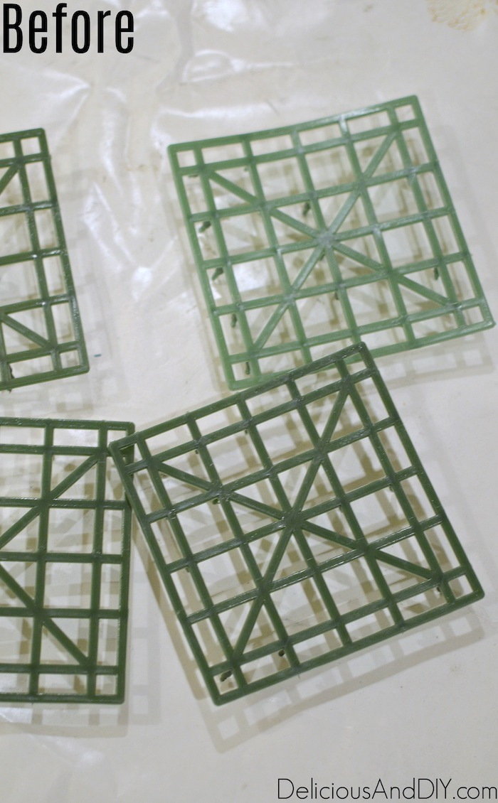 green colored square mesh backing