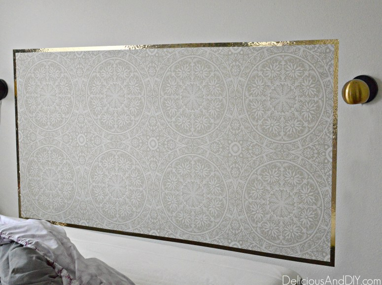 Transform your bedroom with this renter friendly DIY Removable Wallpaper Headboard Idea. Not only is this budget friendly and cheap to create but the results is versatile and you can choose from the many options available of Removable Wallpaper to create a gorgeous DIY Headboard
