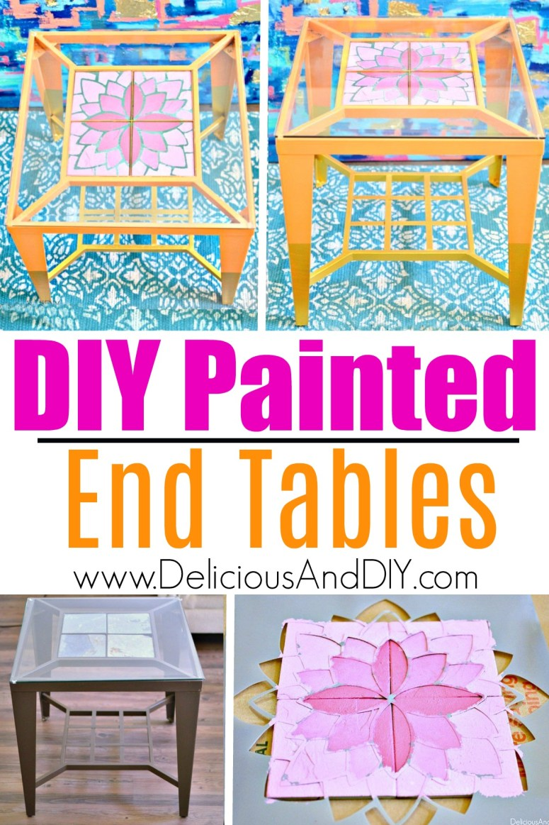 Thrift Store End Tables Painted in a Bright and Bold Color and a stenciled flower on top