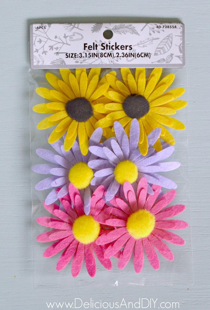 Colorful Felt Flower Stickers to be attached onto the Concrete Plant Stand