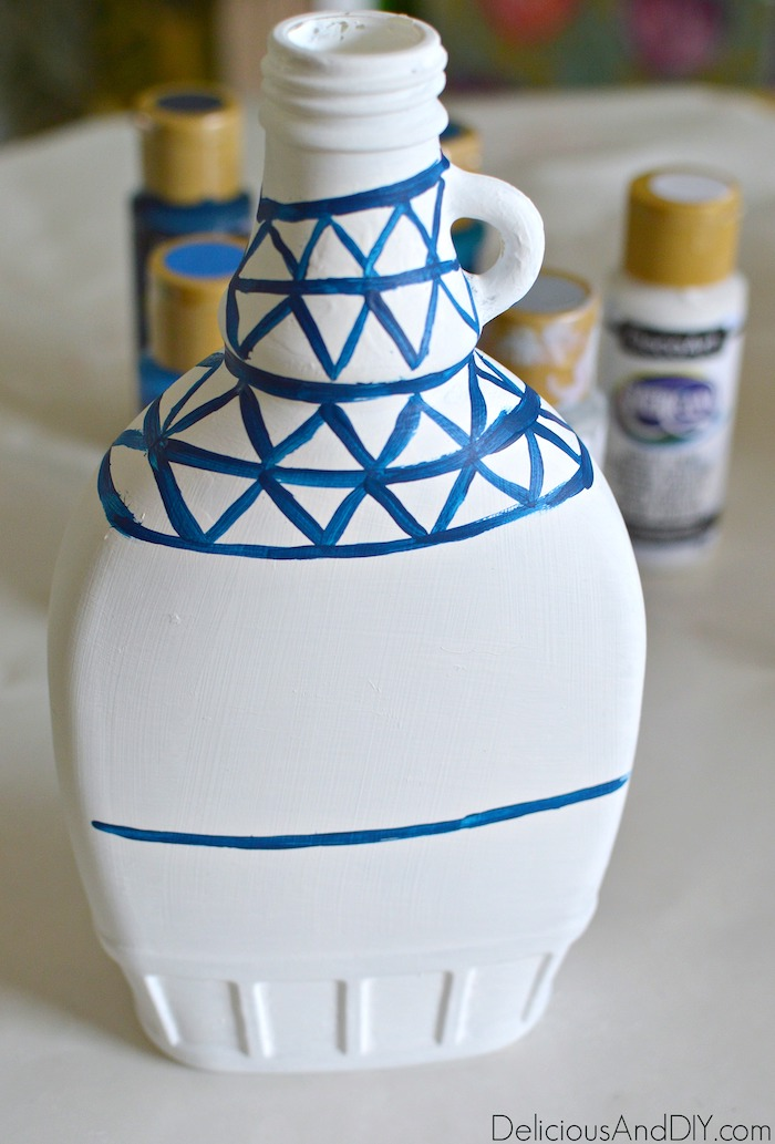 Paint the Vase by creating lines and triangles to mimick the Anthropologie Vase pattern