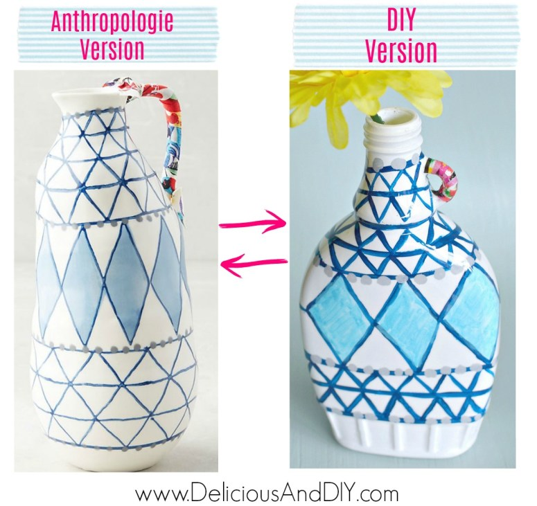 A step by DIY step process on recreating an Anthropologie Vase at home by using paint and decoupage paper for half the price