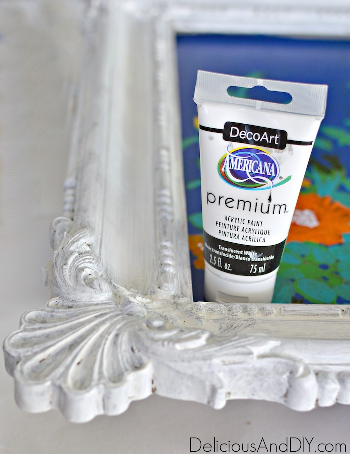 Painting the Wooden Frame of Wall Art with white acrylic paint