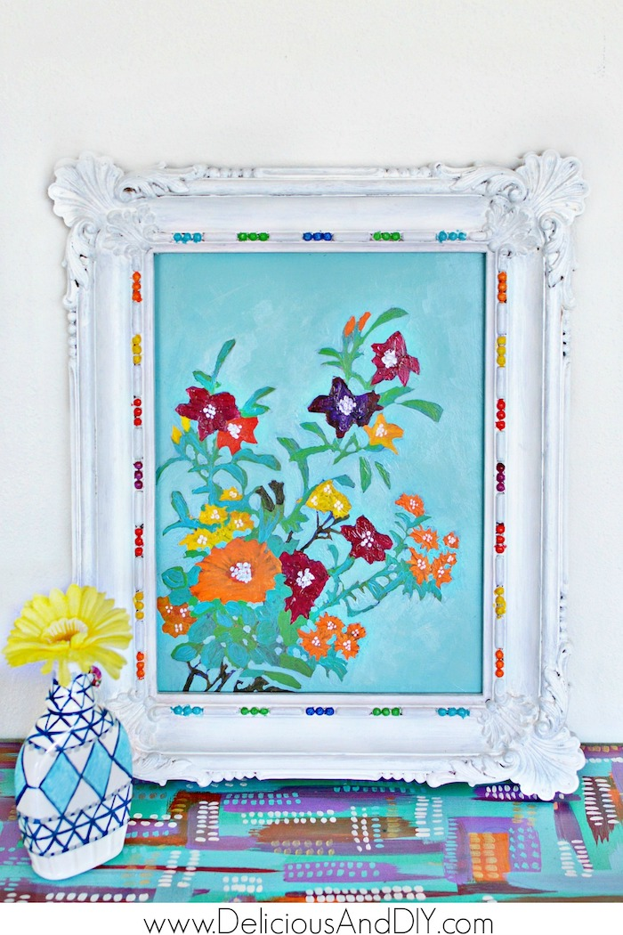 Repainted Wall Art with vibrant acrylic paints