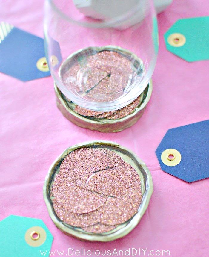Resin coasters made with clay and confetti