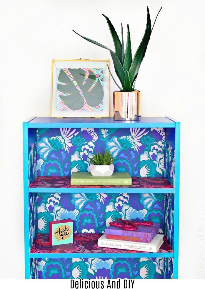 A beautiful picture of transformed bookshelf using Wallpaper