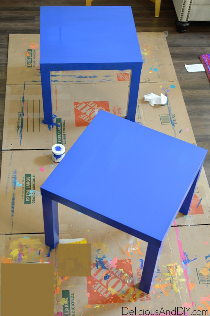 Two IKEA lack tables painted in the color blue