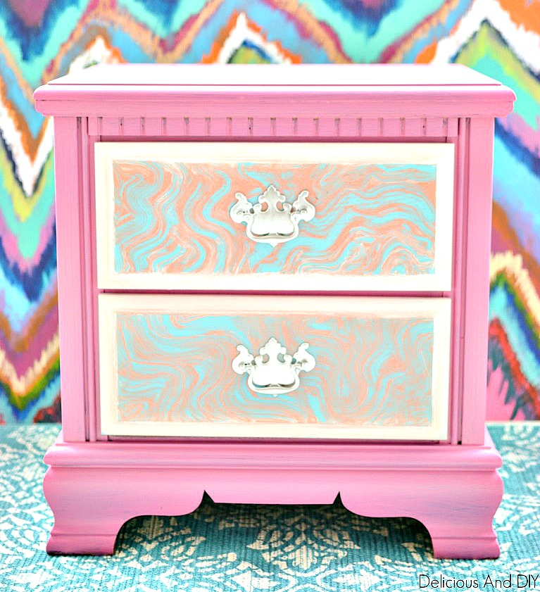 Two Drawer Nightstand Painted using Faux Marble Paint Technique