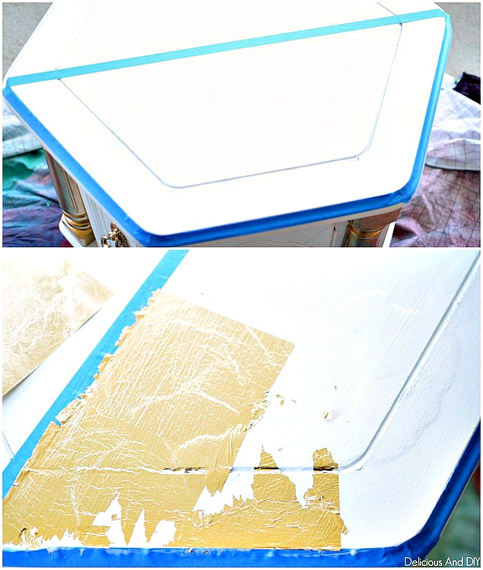 Applying Gold Foil to the top half of the Coffee Table using Decoupage Glue