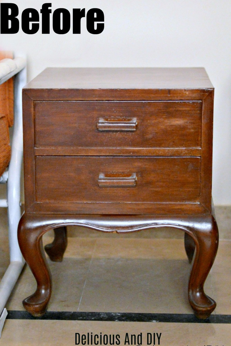a thrifted nightstand before it is painted with chalk paint