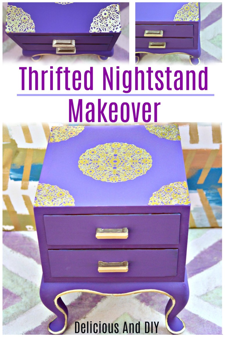 Thrifted Nightstand Makeover using Purple Chalk Paint and Gold Doily
