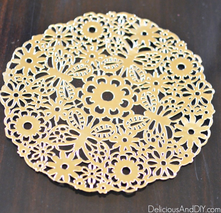 Gold Doily used to decoupage onto the thrifted nightstand