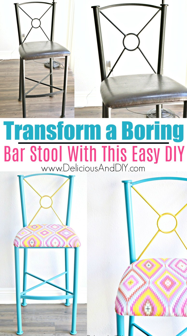 Before and After picture of Bar Stool Makeover
