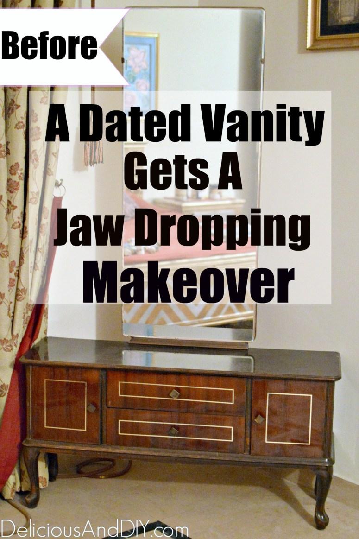 brown vanity dresser before it is stenciled