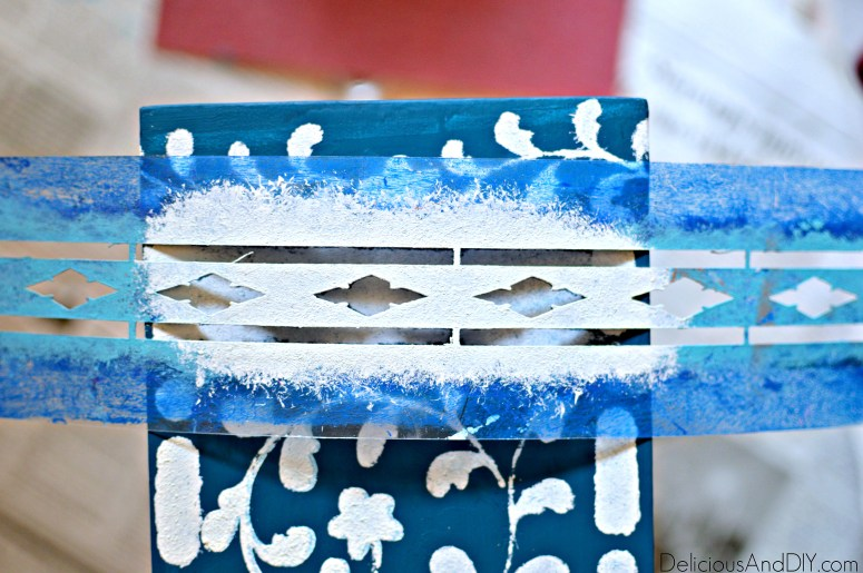 Stenciling the front part of the drawer
