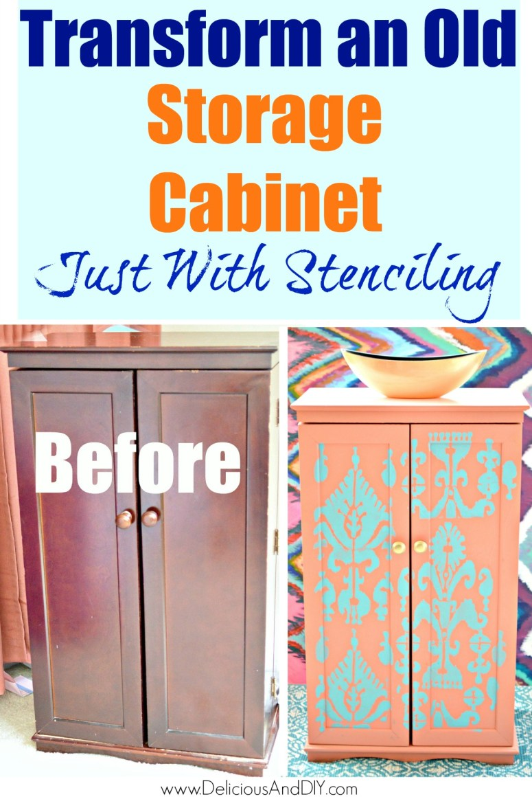 before and after transformation of a painted storage cabinet