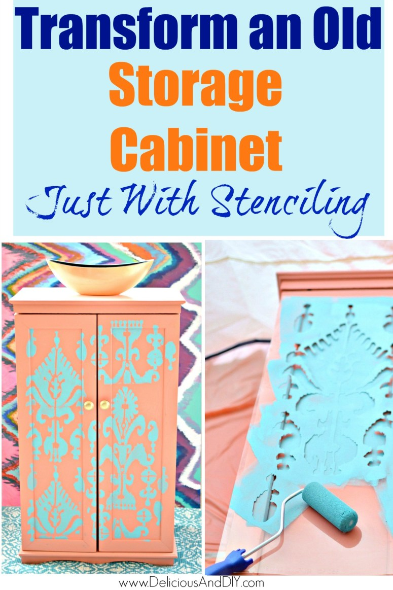 painted and stenciled storage cabinet makeover