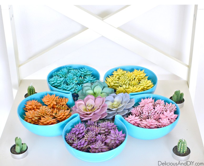 Turn a plain tray into a succulent garden using faux plants