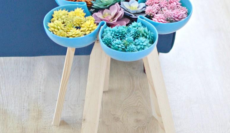 succulent garden flower tray into a table