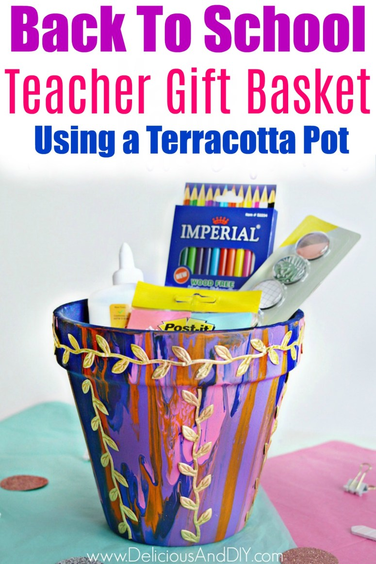 Back To School Teacher Gift Basket using a Terracotta Pot