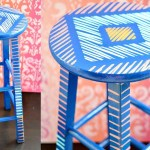 Brushstroke Art Bar Stool Makeover
