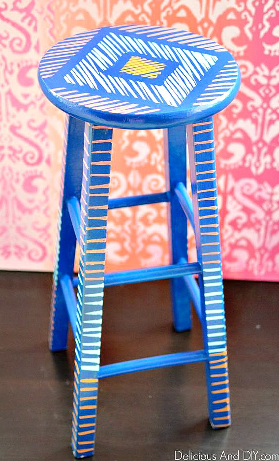 painted wooden bar stool