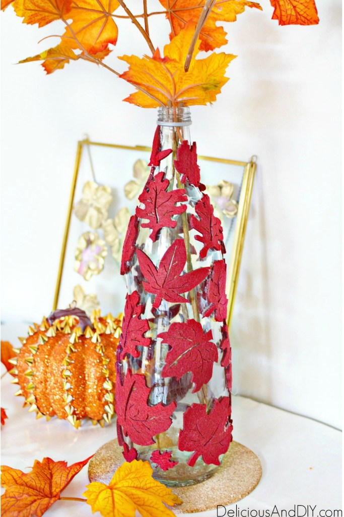 decorative fall leaf vase