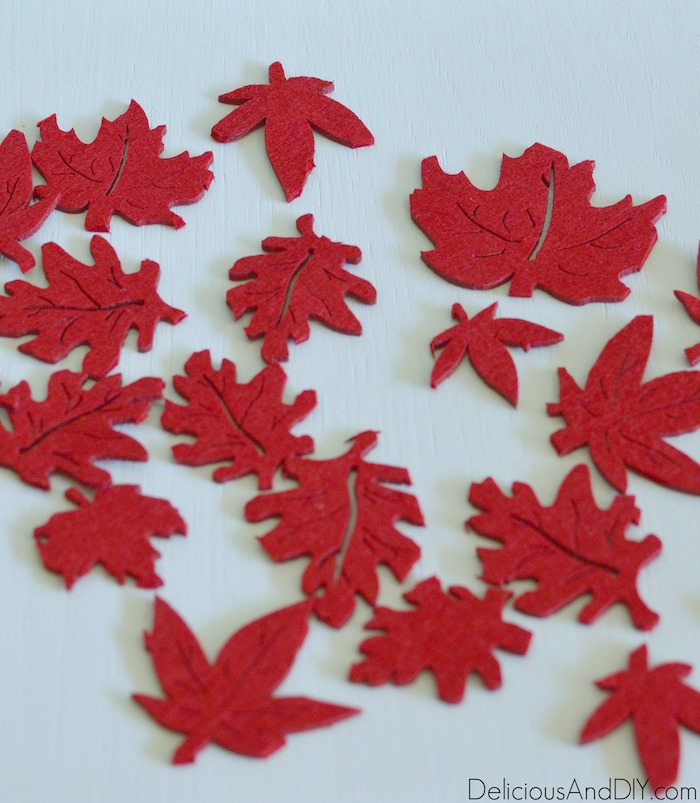 felt fall leaves cutout from a mat