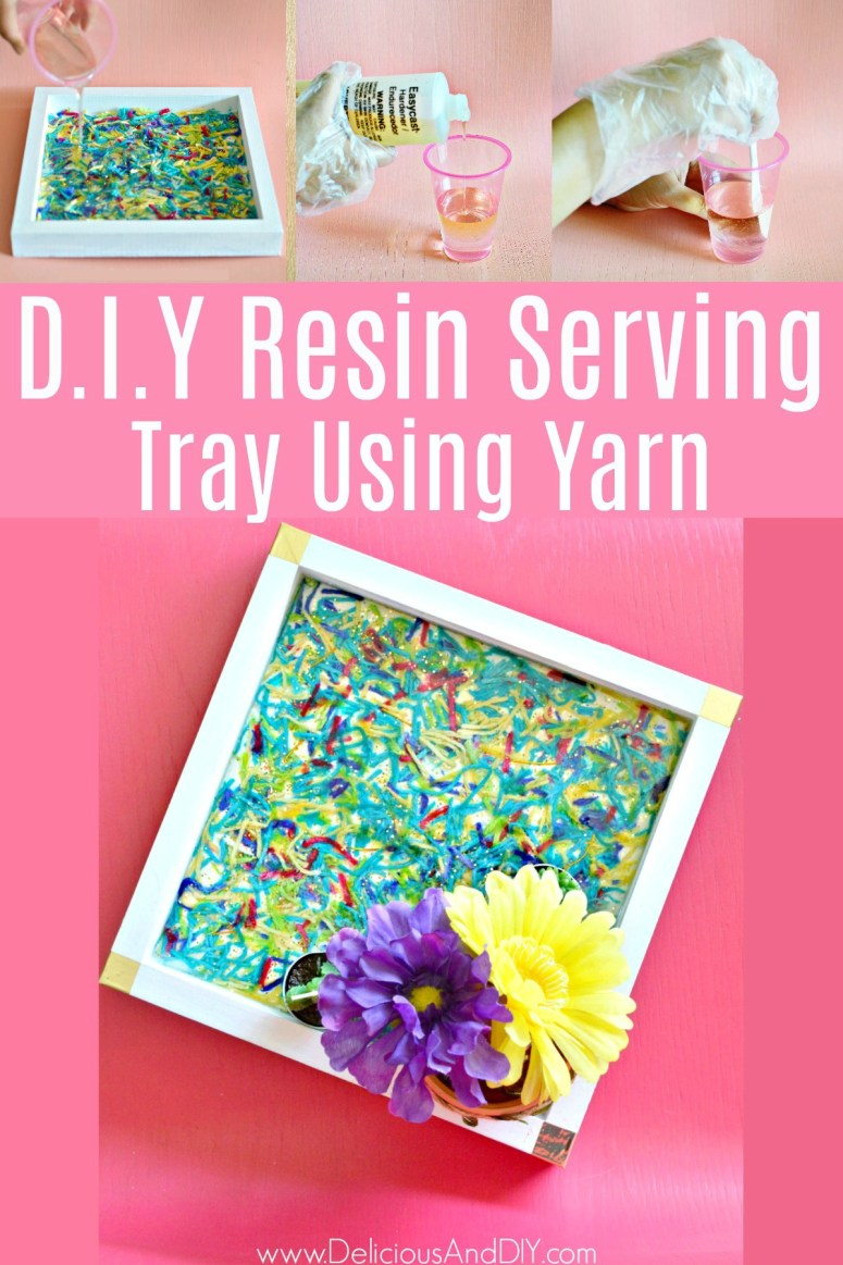 How to make DIY Wooden Serving tray with epoxy resin and yarn
