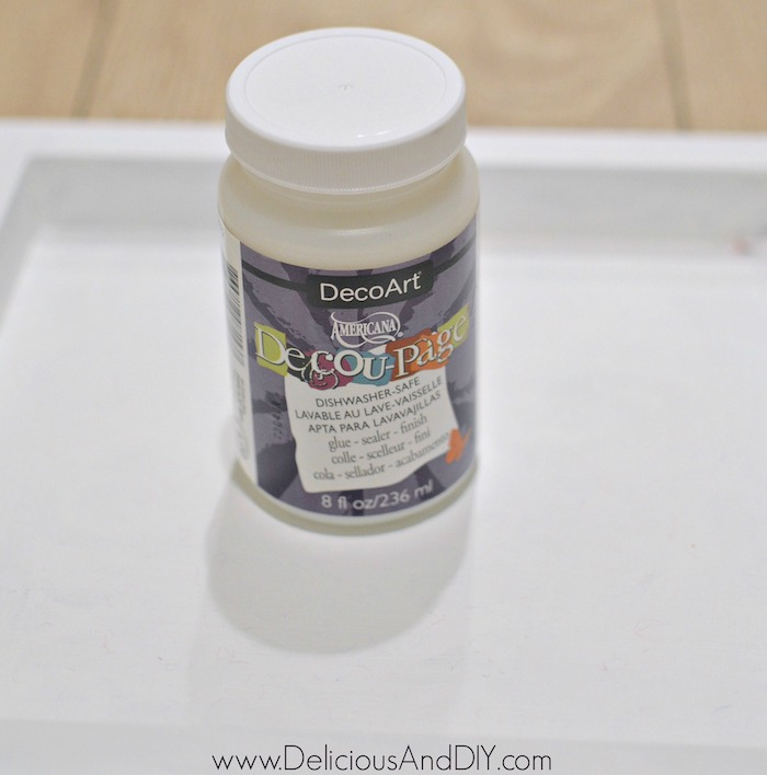 decoupage glue to be used on the wood serving tray